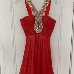 Red Sherri Hill Cocktail Dress.